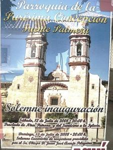 Cartel inauguración iglesia Fuente Palmera